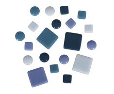 Rayher mosaicos de Mezcla, diámetro 12mm, Cubo 500g, Cristal, 13.3x 13.3x 6.3cm, Vidrio, blautöne, 13.3 x 13.3 x 6.3 cm