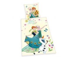 Herding 4479226050412 - Juego de Cama de Algodón (Funda de Almohada DE 80 x 80 cm, Funda Nórdica de 135 x 200 cm), Diseño de Disney de Frozen