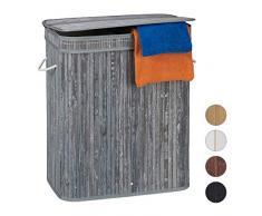 Relaxdays Cesto Ropa Sucia Rectangular con 2 Compartimentos, Cubo Colada, Canasta con Tapa, Bambú, 95 L, Gris