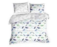 Design91 Ropa de Cama con diseño de Dinosaurios, Funda nórdica de algodón Oeko-Tex, Juego de 2 Fundas de Almohada, 1 Funda de edredón para habitación Infantil, Blanco y Azul, 160 x 200 cm