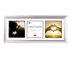 Inov8 21 x 20,32 cm Insta-Frame Marco para Instagram 3/de estampado a cuadros de fotos con paspartú blanco y negro con borde, 2 unidades, Ripple plateado