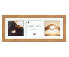 Inov8 21 x 20,32 cm Insta-Frame Marco para Instagram 3/de estampado a cuadros de fotos con paspartú blanco y negro con borde, 2 unidades, madera de roble 313