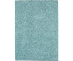 Benuta Alfombra Shaggy Pelo Largo Swirls Fibra sintética schadstofffrei, Fibra sintética, Azul Claro, 133x190 cm