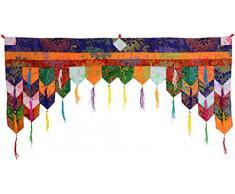 BUDDHAFIGUREN Budista para Puerta con Cristales Colgantes Chukor 99 cm x 40 cm de Tíbet Brocade en la Pared de Cortina