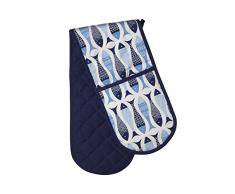 Premier Housewares Guante doble para horno de cocina Piscis, color azul