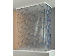 ECO-DuR 4024879002480 - Cortina de ducha enrollable (angular, 137 x 62 cm), diseño oceánico, color plateado, azul y blanco