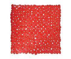 MSV Alfombra de Ducha, Diseño Piedras, Plástico y PVC, Rojo, 53x53x1 cm