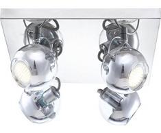 GLOBO aramida LED lámpara de techo de cromo 4xGU10