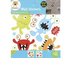 Fun4Walls WS30164 - Pegatinas adhesivas reutilizables para pared (brillan en la oscuridad), diseño de monstruos