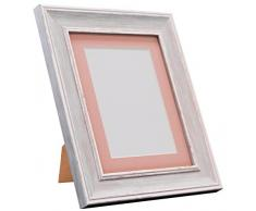 Frames by Post Marco de Fotos Vintage Scandi, Distressed Blue with Pink Mount, 18 x 14 Image Size 14 x 11 Inch