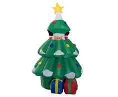 HOMCOM Arbol de Navidad + Papa Noel Hinchable + 2 Infladores y Luz LED Navidad Decoracion