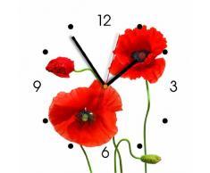 Contento 866008 - Reloj de pared, diseño de amapolas