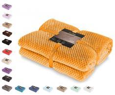 DecoKing Henry Manta de Microfibra 150x200 Extra Suave y Blanda Muy Cómoda Caliente y Ligera Naranja