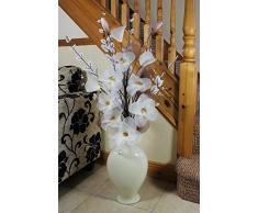 Flourish 797737 Jarrón en Forma en Forma de Espiral, con Flores Artificiales Rojas y Negras, 115 cm, poliéster, Cream in Cream, 20x40x110 cm