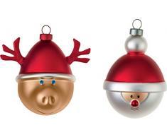 Alessi Babbarenna Babbonatale - Bolas de Navidad (decoradas a mano, vidrio soplado), diseño de Papá Noel y reno, multicolor