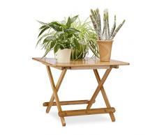 Relaxdays plegable mesa auxiliar, HxWxD: 50 x 65,5 x 65,5 cm, mesa de jardín, plegable cuadrado mesa de café, Natural marrón