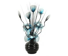 Flourish-Jarrón pequeño 723248--813-Jarrón con flores de nailon artificiales Turquesa/Negro y texto en, diseño Home Accessorie, 32cm, color azul