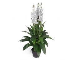 Planta Artificial de orquídea de Cymbidium de Hoja de 100 cm, diseño de Maceta, Color Blanco