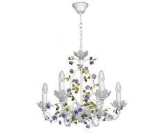 Lámpara De Techo Colgante Con Flores De Hierro Forjado Brazos Velas Color blanco Púrpura Verde 6 * 40W E14 - excl