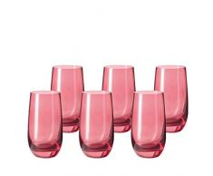 Leonardo 014897 Juego de 6 Vasos para Agua Grande Sora, Apto para lavavajillas, Rubino Rojo