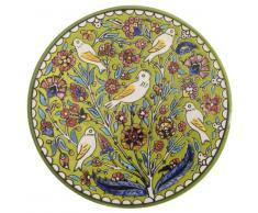 Ian Snow CM018GR - Plato Pintado a Mano, diseño de pájaros, Color Verde