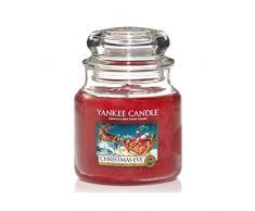 Yankee Candle 1199604 Vela Media aromática en Tarro a víspera de Navidad, Cristal, Rojo, Frasco Mediano