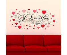 Walplus I Love Usted Cita con corazones San Valentín regalos extraíble autoadhesiva pegatinas de pared, multicolor, 122 x 45 x 55 cm