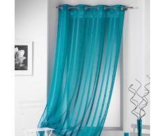 DOUCEUR dInterieur 140 x 260 cm color Sable Raye Malta anillos de cortina, turquesa