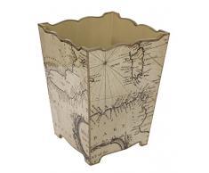 Fundashop Papelera con diseño de mapamundi, Madera, Beige, 24x24x32 cm