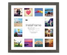 Inov8 16 x 40,64 cm Insta-Frame Marco de fotos de madera para Instagram 13/de estampado a cuadros de fotos con paspartú blanco y blanco con borde, marrón