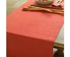 Linenme - Camino de mesa de lino, color naranja, 50 x 140 cm