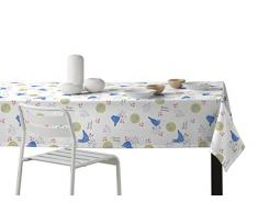 Martina Home Gallinas Mantel Resinado con un Diseño Moderno, Tela, Azul, 140 x 300 cm