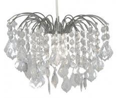 Oaks Lighting 695L CH - Lámpara de techo con cristales colgantes de plástico, 100 W, 35 x 23 cm, color cromo