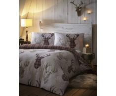 DE CAMA Diseño a cuadros de tartán rienda diseño de reno de ciervo en pared de funda de edredón y juego individual en color Natural y marrón