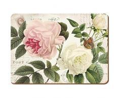 Creative Tops Rose Jardín Premium, reverso de corcho, manteles individuales, madera, rojo, 4piezas, tamaño grande