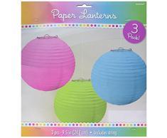 Amscan International - Pantallas de papel para lámparas de techo (3 unidades)