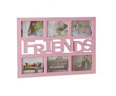Relaxdays marco de fotos mútliple para 6 fotografías, Plástico, Color rosa, 33 x 48 x 1,5 cm