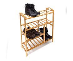 Relaxdays 10019016_349 - Estante para zapatos de bambú, 75.5 x 68.5 x 26 cm, 2,6 kg