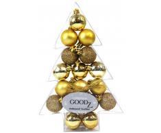 Inge Glas 770301 - Juego de bolas para árbol de Navidad (17 unidades, 3 cm, en caja), color dorado