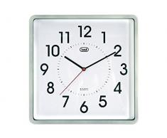 Trevi cuadrado reloj de pared, plástico, plata