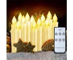 VicTsing - Juego de 12 velas eléctricas con pilas cónicas de 0,6 x 3,5, velas LED con llama, con pinzas extraíbles y mando a distancia para Navidad, bodas, fiestas y decoración interior