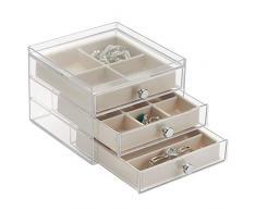 InterDesign Clarity Jewelry Joyero organizador | Caja joyero con 3 cajones y 17 compartimentos | Organizador de joyas antiarañazos | Plástico transparente/marfil