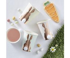 ginger ray - Vasos de Papel con Forma de Conejo y Cola de Pascua (8 Unidades), Color Rosa y Dorado