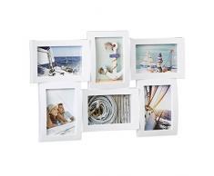 Relaxdays Bilderrahmen mehrere Fotos, Collage für 6 Bilder, Fotorahmen in 3D-Optik, Zum Hängen, 33 x 47, 5 cm, weiß Marco Múltiple para Pared, Blanco, 3x47.5x33 cm