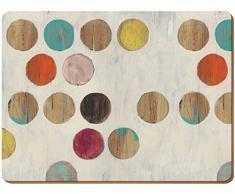 Creative Tops - Juego de 6 manteles Individuales de Madera Multicolor con Reverso de Corcho Estilo Retro