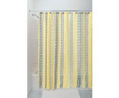 InterDesign Moxi SC Cortinas para ducha para 180x180, Cortina de baño con 12 ojales y motivo de azulejos, Cortina de ducha con estética de tela arrugada, Poliéster amarillo/gris