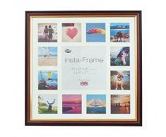 Inov8 16 x 40,64 cm Insta-Frame Marco para Instagram 13/de estampado a cuadros de fotos con paspartú blanco y blanco con borde, madera de caoba