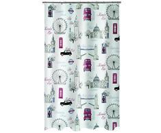 Spirella 180 x 200, Multicolor colección Westminster, Cortina de Ducha Textil, 100% Polyester, PEVA