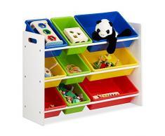Relaxdays Estantería Infantil con Cajas, Almacenaje de Juguetes, Multi-Color, MDF & Plástico, 68x86x31 cm