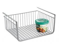 InterDesign York Lyra Cesta organizadora para colgar, estante flotante de metal para la cocina o el armario, plateado